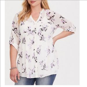 Torrid White Purple Floral Sheer Tunic Top 2 18 20